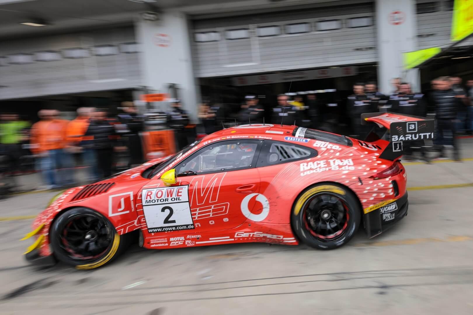 VLN 3. Lauf 2018 - Foto: Gruppe C Photography; #002 Porsche 911 GT3 R, Team GetSpeed Performance: Steve Jans, Marek Böckmann, Christopher Gerhard